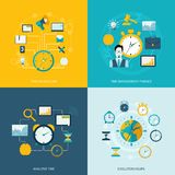 Time management flat icons. Set with task scheduling time management finance analysis evolution hours isolated vector illustration Stock Illustration