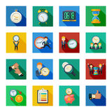 Time Management Flat Shadow Icons Set. Time management money saving with hourglass sand clock flat icons slant shadow set abstract isolated vector illustration Royalty Free Stock Image