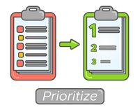 Time management goal priorities. Task priority plan concept design. Prioritize agenda Royalty Free Stock Photo