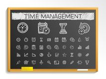 Time management hand drawing line icons. chalk sketch sign illustration on blackboard vector illustration