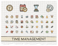 Time management hand drawing line icons. Royalty Free Stock Photo