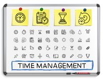 Time management hand drawing line icons. stock illustration