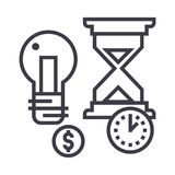 Time management, hourglass, coin, timer vector line icon, sign, illustration on background, editable strokes Stock Photography