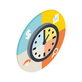 Time management icon, isometric 3d style Royalty Free Stock Images