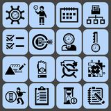 Time management icons black set Royalty Free Stock Images