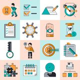 Time management icons flat line Royalty Free Stock Photo