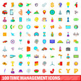 100 time management icons set, cartoon style. 100 time management icons set in cartoon style for any design vector illustration Royalty Free Stock Photos