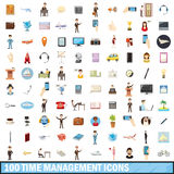 100 time management icons set, cartoon style. 100 time management icons set in cartoon style for any design vector illustration stock illustration