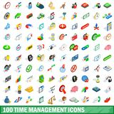 100 time management icons set, isometric 3d style. 100 time management icons set in isometric 3d style for any design illustration vector illustration