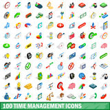 100 time management icons set, isometric 3d style. 100 time management icons set in isometric 3d style for any design vector illustration Stock Photos