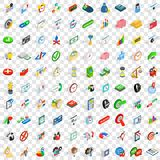 100 time management icons set, isometric 3d style Royalty Free Stock Photo