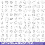 100 time management icons set, outline style. 100 time management icons set in outline style for any design vector illustration Stock Photo