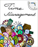Time management illustration, clocks doodle Royalty Free Stock Photo