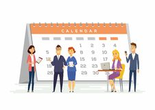 Free Time Management In A Company - Modern Cartoon People Characters Illustration Royalty Free Stock Photo - 101011225