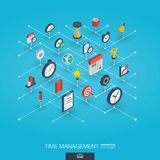 Time management integrated 3d web icons. Growth and progress concept. Time management integrated 3d web icons. Digital network isometric interact concept Stock Photos
