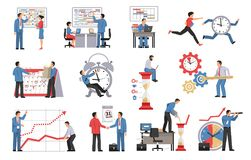 Time Management Isolated Icons. Set of people planning their business process and work schedule vector illustration Stock Photo