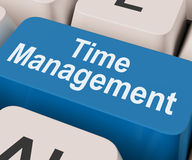 Time Management Key Shows Organizing Schedule Online Stock Image