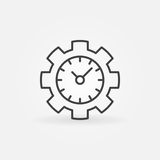 Time management line icon. Vector clock in a gear concept symbol or logo element in thin line style Stock Photo
