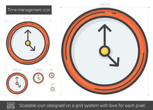 Time management line icon. Time management vector line icon isolated on white background. Time management line icon for infographic, website or app. Scalable Royalty Free Stock Photo