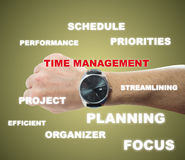 Time management. Male hand with black watch and time management word Royalty Free Stock Photo