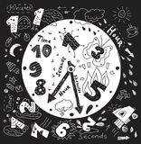 Time management metaphor doodles black and white. Black and white vector illustration Royalty Free Stock Image
