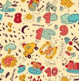 Time management metaphor doodles seamless pattern color Stock Image