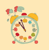 Time management metaphor flies hours color Royalty Free Stock Image
