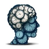 Time Management Mind. And business scheduling or deadline planning as a human brain made of clock objects as a 3D illustration Royalty Free Stock Photography