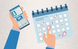 Time Management Mobile Phone App Vector Concept stock illustration
