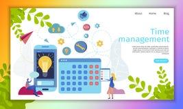 Time Management Online Service Flat Vector Website royalty free illustration