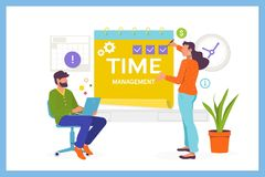 Time management planning and control concept.Easy to edit and customize. Flat vector illustration stock illustration