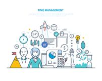 Time management. Planning and organization of working hours, regulation, teamwork. Time management concept. Planning and organization of working hours Royalty Free Stock Photography