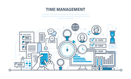 Time management, planning, organization of working , work process control. Time management, planning and organization of working time, work process control and royalty free illustration