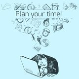 Time management poster sketch Stock Photos