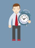 Time management, productivity, planning and scheduling. Man with clocks symbolizing time management, productivity, planning and scheduling. Stock Vector Royalty Free Stock Image