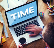 Time Management Punctual Duration Schedule Concept. People Computer and Technology Time Management Schedule Royalty Free Stock Photos