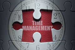Time management puzzle concept. Missing piece from a clock jigsaw puzzle with time managment Stock Photos