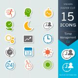 Time management related icons set, Vector Illustrations stickers and paper cut style, Easy to editable and change royalty free illustration