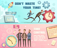 Time Management Retro Cartoon Banners royalty free illustration