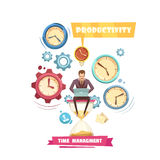 Time Management Retro Cartoon Concept royalty free illustration