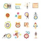 Time Management Retro Cartoon Icons Set Royalty Free Stock Image