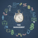 Time Management Round Composition. With 3d stopwatch, hand drawn business icons on textured dark background vector illustration Stock Image
