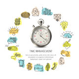 Time Management Round Design. With hand drawn business icons 3d stopwatch on white background isolated vector illustration Royalty Free Stock Photography
