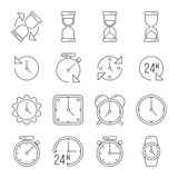 Time management, sand clock, 24 hours thin line vector set. Clock face dial with arrow illustration Stock Images