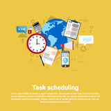 Time Management Scheduling Business Web Banner. Flat Vector illustration Stock Photography