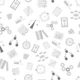 Time Management seamless pattern. Flat icons. Stock Photo