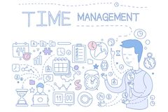 Time management set, hand drawn business planning design elements for banner, poster, brochure, flyer, advertising Stock Photography
