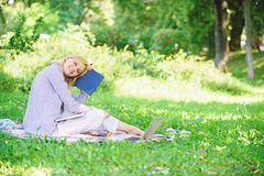 Time management skill. Girl with business diary create her daily schedule. Woman relax nature background. Save time for. Relax. Create break for yourself. Smart stock image