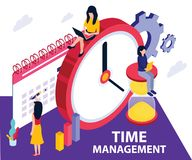 Time Management Software, Where they are planning where to Spend time on a given Task Isometric Artwork Concept stock illustration