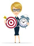 Time management and targeting concept. With businesswoman. Business character holding Marketing target with arrow and clock . Isolated on white background Royalty Free Stock Photo